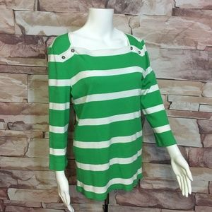 LRL Womens L green knit stripe top, square neck